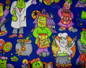 Halloween fabric Frankenstein Trick or treat Haunted House cotton print quilter sewing material crafters by the yard BTY