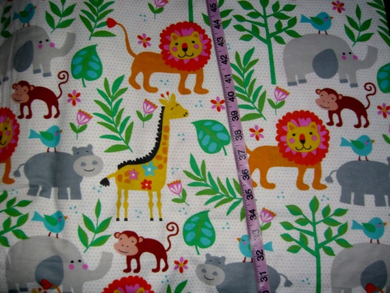 Kids flannel fabric with giraffes jungle animals lion elephant for Childrens jungle fabric