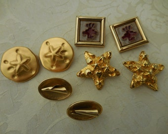 Lot of 4 Vintage GOLDTONE Earrings Big and Bold SARAH COV