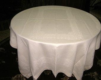52 x 70 Vintage Soft Yellow Linen Damask Tablecloth, Circa 1950's
