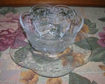 Vintage Duncan Miller Etched Glass Mayonnaise Set, First Love Pattern, Circa 1935