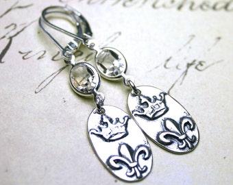French Crown Earrings - Swarovski Crystal and Fleur-de-Lis Earrings in Clear Crystal - Sterling Silver Leverbacks