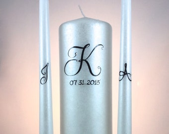 Wedding Unity Candle Set, monogrammed, customizable, accented with swarovski crystals