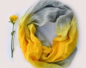 Grey Yellow Linen Scarf - Linen Scarf - Infinity Scarf - Pure Linen Scarf - Gift - Oversized Linen Scarf - Linen Fashion Scarf