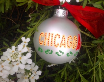 Chicago Ornament, The Windy City - Illinois Family Vacation Souvenir - Hand Painted Glass Christmas Ornament, The Bean, Second City, skyline