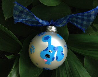 Blue Clues Dog Birthday Ornament, Blue Dog Ornament, Hand painted Personalized Christmas Ornament, Blues Clues Party, Birthday Decor