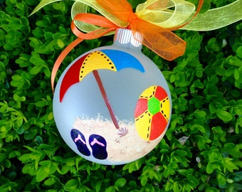 Beach Umbrella and Beach Ball Ornament - Personalized for Wedding, Vacation, Birthday, Christmas, Hand Painted Glass Bauble, Beach Vacation
