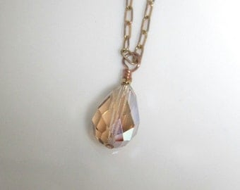 Simple Vintage Crystal in OOAK Handmade Pendant Necklace with Handformed Copper Wire Clasp