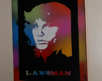 Jim Morrison painting Doors L.A woman stencil art pop art on canvas spray paints music 60s sixties Woodstock multicoloured America rock band