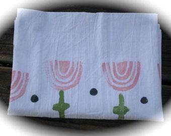 Kitchen Flour Sack Towel, Block Print Flower, Flower Sack kitchen Dish Towel