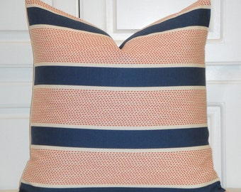 Tilton Fenwick In Sapphire - Duralee Decorative Pillow Cover - Toss Pillow - Throw Pillow - Navy and Coral - Euro sham