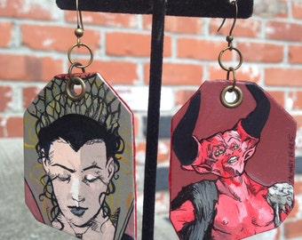 We Are All Monsters my Lady - hand-painted Legend Princess Lili and the Lord of Darkness earrings