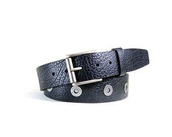PORTELBELT - - innovative adjustable buffalo leather belt - - BLACK