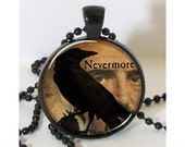 Raven and Edgar Allan Poe Collage Necklace with Chain Altered Art Pendant Resin Pendant Picture Pendant Art Pendant Photo Pendant