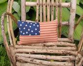 Primitive American Flag Pillow - Americana Accent Pillow