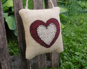 Primitive Burlap Heart Door Knob / Cupboard Hanger