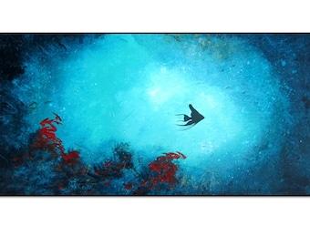 Abstract Coral Reef Fish Art. Aquarium Fish Painting on Canvas.Angelfish Painting. Sea Life Art. Ocean Painting. Large Acrylic Original Art.