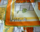 Vintage VERA Ladybug Scarf Orange Yellow Green Fruit Stand Pattern Silk