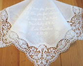 Wedding Handkerchief: White German Plauen Lace Handkerchief Style No. 40737 with I'll love you forever, I'll like you always...