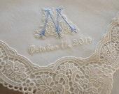 Wedding Handkerchief: Cream Color German Plauen Lace Handkerchief Style No. 40737 with Classic Zundt 1-Initial Monogram