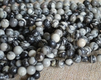 100pcs 4mm Black Silk Stone Natural Gemstone Beads 16 Inches