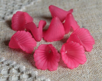 50pcs Acrylic Flower 18x17mm Frosted Fuchsia Lucite