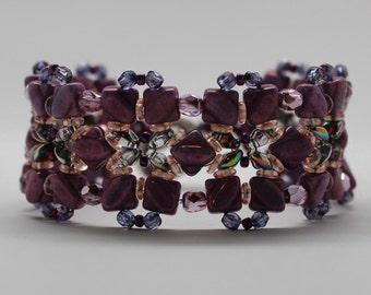 Alabaster Lilac Silky 2 Hole Angled Square Czech Beads Bracelet
