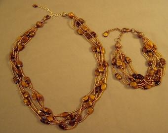 Vintage 1980s 4 Strand Tigers Eye Glass Seed Bead Necklace & Matching 6 Strand Bracelet 7982