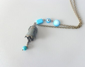 Bell and turquoise asymmetric necklace