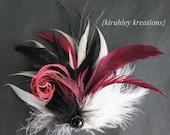 CHERI -- SHIP READY Black Cherry and White Feather Wedding Bridal Bride Bridesmaid Prom Fascinator Hair Clip Headpiece w/ Black Rhinestone