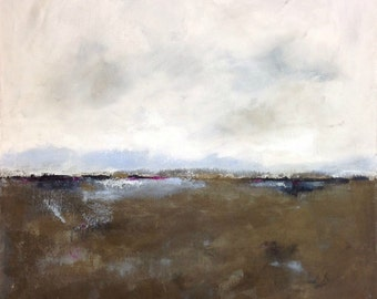 Bronze Abstract Landscape Seascape Original Painting on Canvas -Winter Wind 30 x 30