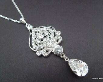 Bridal Rhinestone Necklace Crystal Necklace wedding Rhinestone Necklace Statement Necklace swarovski Crystal teardrop Necklace STELLA