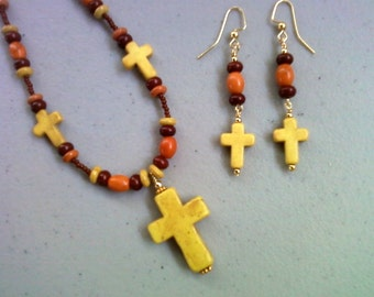 Yellow Cross Necklace and Earrings (0208)