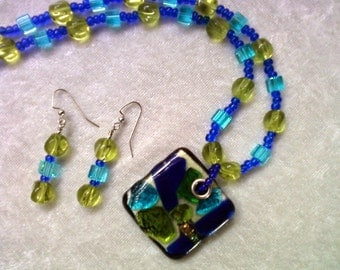 Cobalt Blue, Aqua and Lime Green Necklace and Earrings (1069)