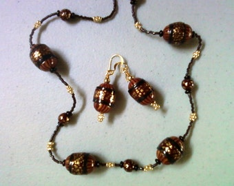 Maroon, Gold, Black and Brown Necklace and Earrings (0268)