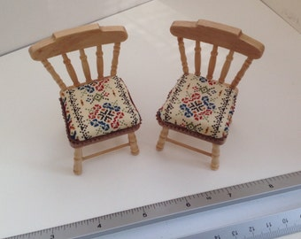 DOLLS HOUSE MINIATURES - 1/12th Pair of Pine chairs with Handmade Cushion pads