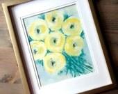 Original Acrylic painting   Abstract  Fine Art Modern Contemporary Art   yellow green gray
