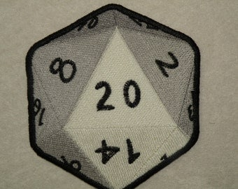"""Large D-20 iron on patch 6 """""""
