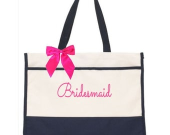 Monogram Bridal Party Tote Bags - Beach Bag Tote - Wedding party Gift - Set of 3