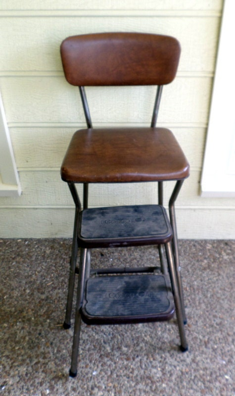 Vintage Cosco Folding Step Stool Kitchen Chair Brown Vinyl