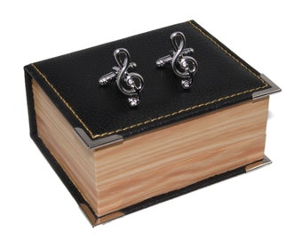 Men Musical Notes Cuff Links and Gift Box ~ Novelty Men's Accessory