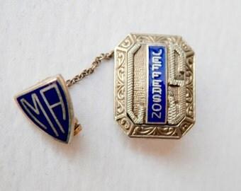 Vintage 10K White Gold Awards Pin 10K Yellow Gold Jefferson Hallmarked Royal Blue Enamel Engraved High School Crest High School Pin