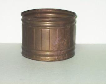 Vintage Brass Planter Barrel Flower Decor Pot Retro 80s Home Decor Made USA