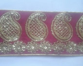 2 Yards Pink Paisley Floral Lace Trim Width 3.25 inches or 9 cm