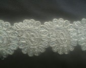 2 Yards light gold Paisley Lace Trim Width 2.25 inches or 5.75 cm