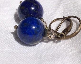 Lapis Ball Dangle Earrings