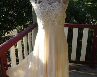 muslin sun dress, vintage lace,  country bohemian, hippy beachy, s, m