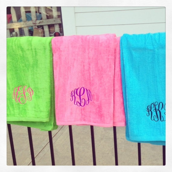 QUALITY Monogrammed Beach Towels By Thepalmgifts On Etsy
