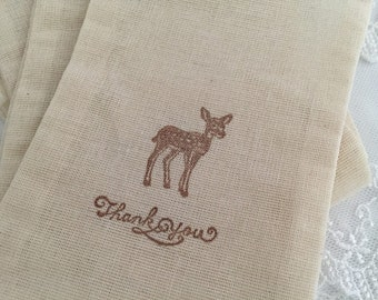 Deer Thank You Bags Baby Shower Favor Bags Woodland Birthday Set of 10