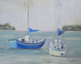 Original Plein Air Oil Painting Sailboats Sarasota Bay